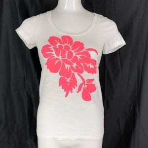 J Crew Graphic T shirt Small White Pink Graphic